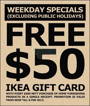 FREE-50-IKEA-Gift-Card-Branded-Shopping-Save-Money-EverydayOnSales_thumb 11 Dec 2012-8 Feb 2013: IKEA FREE $50 Gift Card Promotion