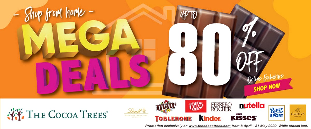 Shophomemegadeals_banner 8 Apr-31 May 2020: The Cocoa Trees Online Mega Sale! Up to 80% off Chocolates & Snacks!
