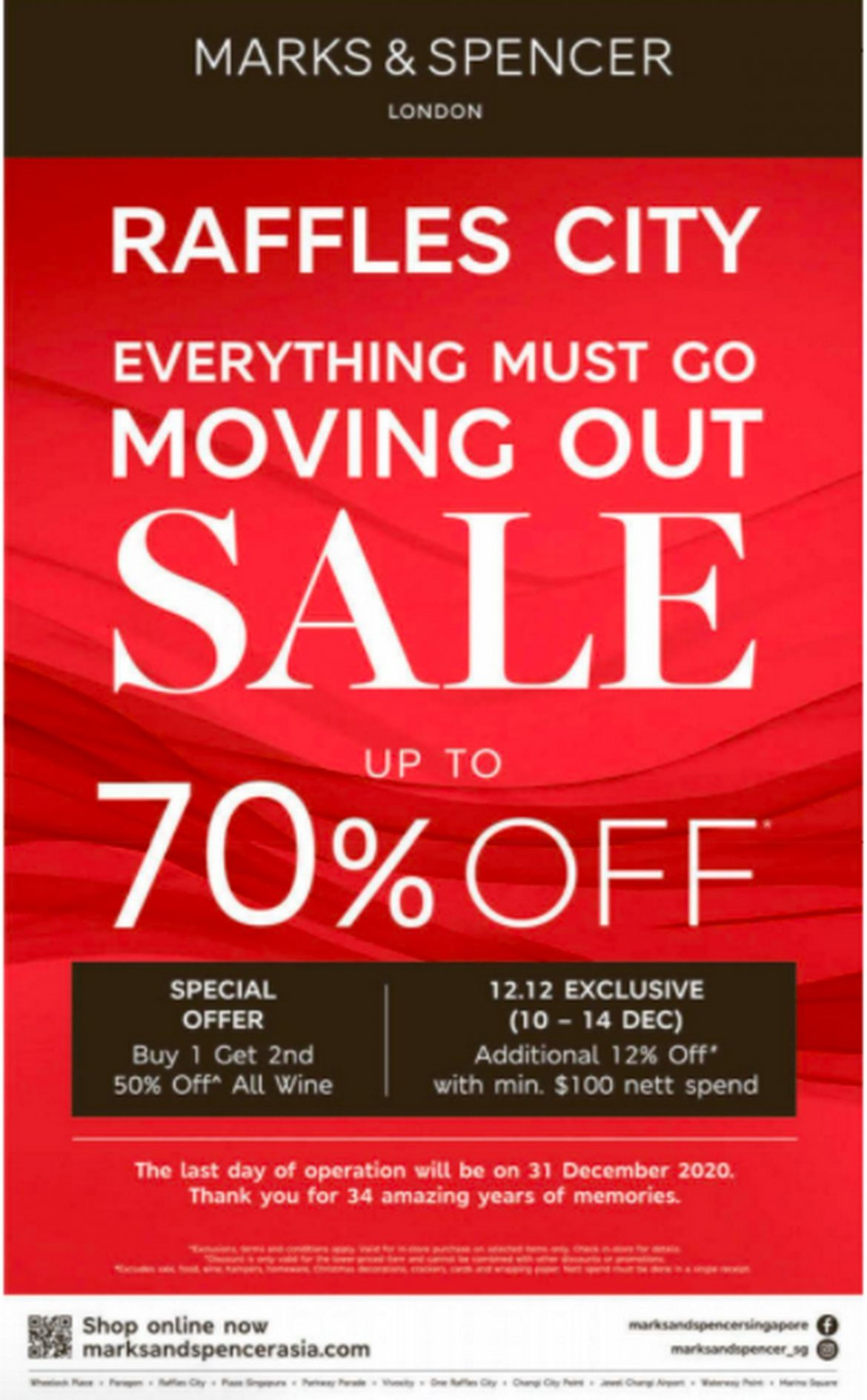 Marks-Spencer-Raffles-City-Moving-Out-Sale 11-31 Dec 2020: Marks & Spencer Raffles City Moving Out Sale