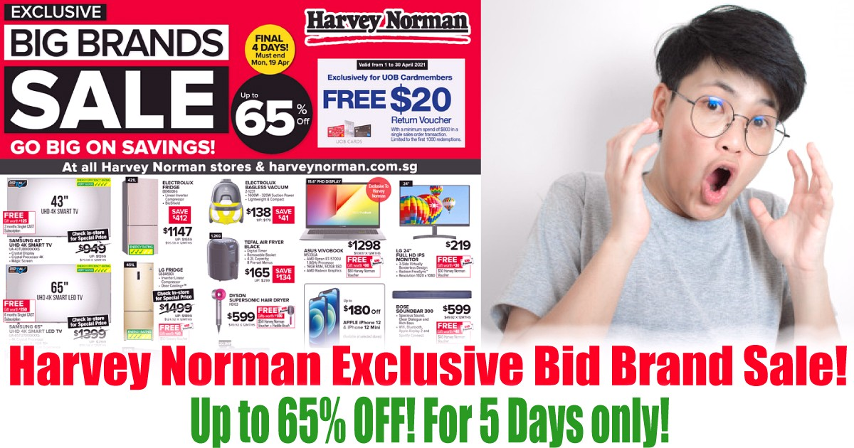 Harvey-Norman-Warehouse-Sale-2021-Singapore-Clearance-Big-Brand-Offers-Home-Appliances-Electrical-Furniture-Bedding-Mattresses 19-23 Apr 2021: Harvey Norman Exclusive Bid Brand Sale! Up to 65% OFF!