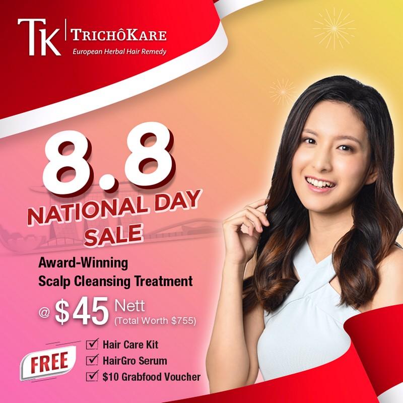 TK-Social-Post-8_8-PromoR2_1H 1-31 Aug 2021: TK TrichoKare 8.8 National Day Sale! Award-Winning Scalp Cleansing Treatment at $45 NETT with FREE HairGRO Serum + Hair Care Kit + $10 GrabFood Voucher (Total worth $755)